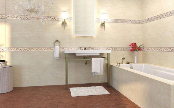 Бежевая ванная деревянный пол