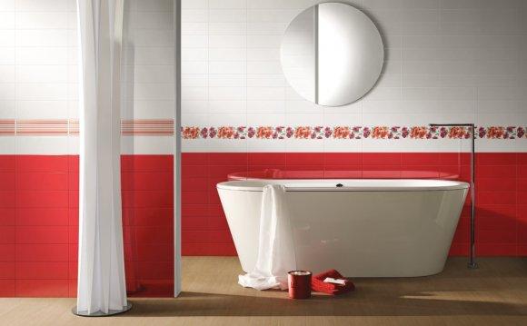 Красная плитка в дизайне
