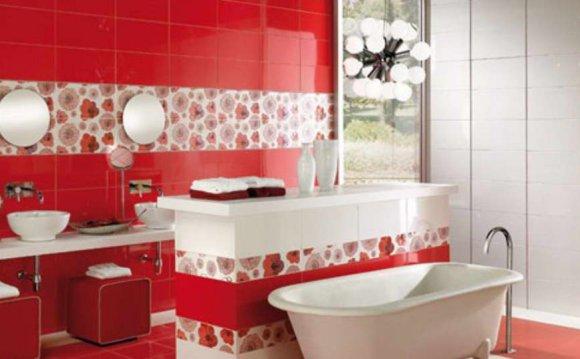 Красная плитка в ванную